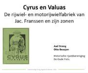 Donatie voor film over lezing 'Cyrus en Valuas' rijwielfabrieken